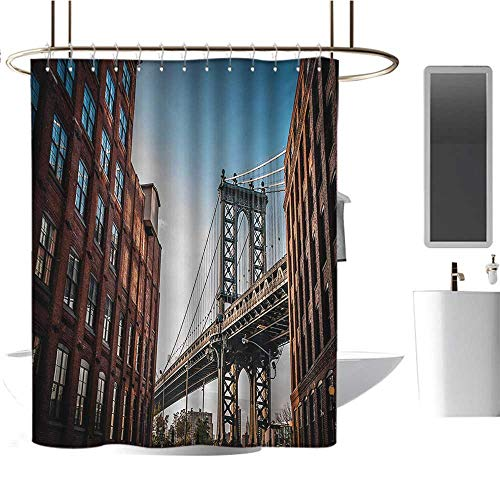 New York Shower Curtains with Shower Hooks Manhattan Bridge Seen from Narrow Alley Island Borough Globally Influential Town NYC Fabric Bathroom Set with Hooks Blue Red