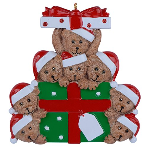 WorldWide Bear Family of 8 Gift Personalized Ornament