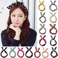 EmmetStore(TM) 10Pcs Girls Bunny Rabbit Ear Ribbon Metal Wire Headband Scarf Hair Head Band Bow