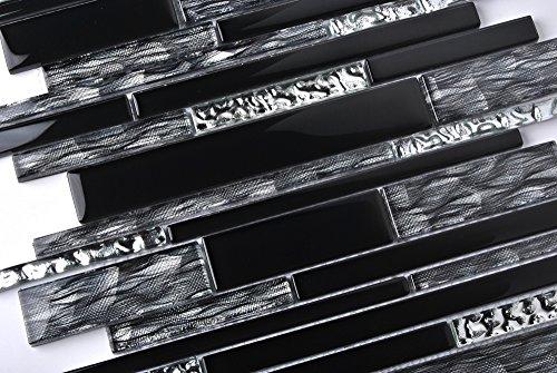 Black Silver Glass Tile Kitchen Backsplash Mosaic Art Home Decor Bath Wall NB09 (11 PCS [12'' X 12''/each]) by TST MOSAIC TILES (Image #3)