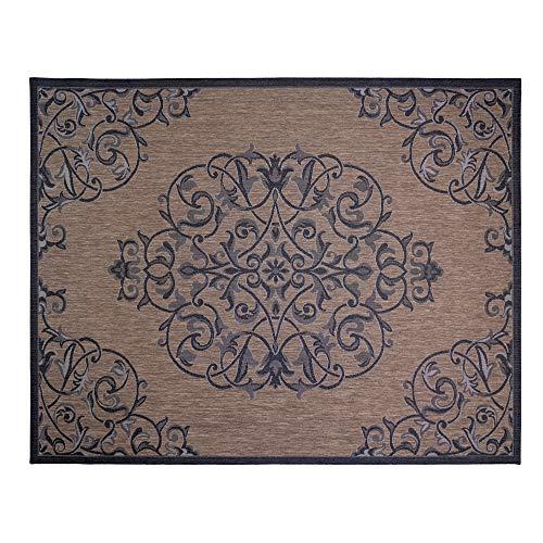Gertmenian 21649 Nautical Tropical Carpet Outside Patio Rug, 8x10 Large, Brown Center Medallion