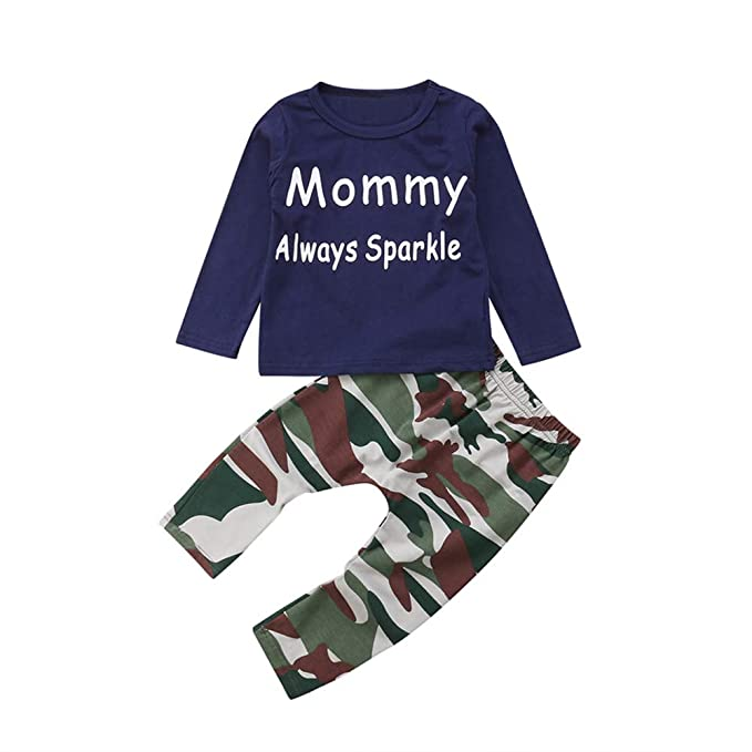 Rawdah_Conjunto Bebe NiñO Invierno Blusas Bebe NiñO Sudaderas Bebe NiñO NiñO PequeñO NiñOs Baby Girl Boy Camisa De Camuflaje Camiseta Tops + Pants Outfits: ...