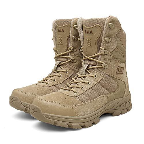 NHX Botas Militares para Hombres Botas de Combate Impermeables Zapatos de Comando Caminando con Cuero Cremallera Lateral Ultraligera Botas t/ácticas Altas