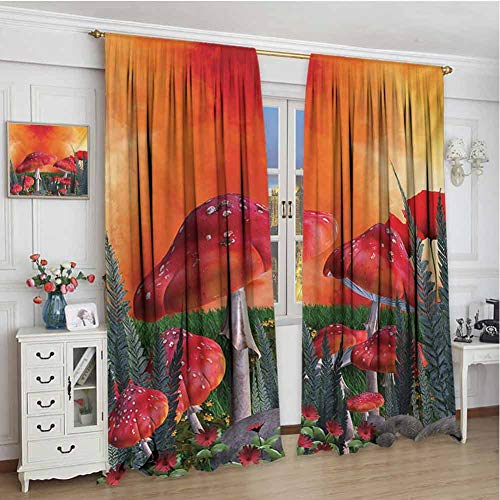 championCEL Mushroom, Decor Curtains by, Mushrooms Magic Place Imaginary Clouds Clipart Leaves Poppies Spellbound, Drapes for Living Room, Orange Red Taupe, 72x84 inch (Industrial Light And Magic The Art Of Innovation)