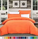 SUSYBAO 3 Pieces Duvet Cover Set 100% Natural Cotton Queen Size 1 Duvet Cover 2 Pillow Shams Vibrant Orange Luxury Quality Ultra Soft Breathable Durable Fade Resistant Solid Bedding with Zipper Ties