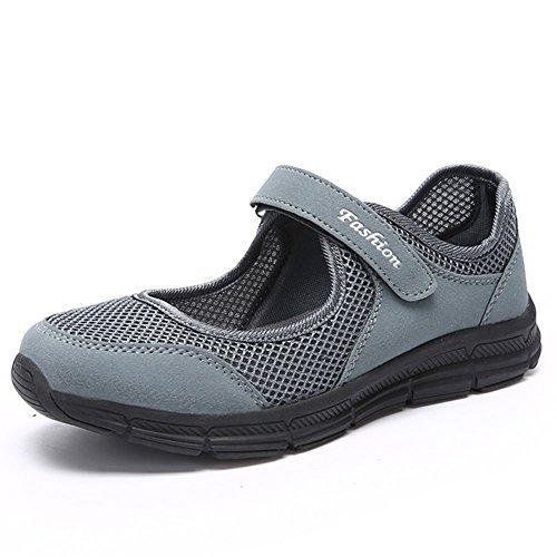 Scurtain Women's Velcro Casual Non-Slip Walking Shoes Breathable Flats Slip on Extra Depth Shoe (8.5, Dark Gray) ()