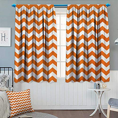 Chaneyhouse Chevron Blackout Window Curtain Halloween Pumpkin Color