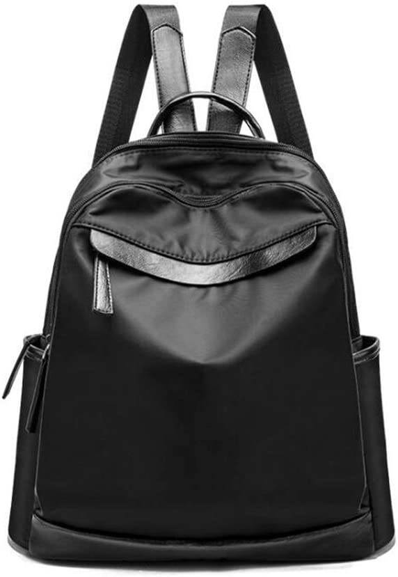 Lady Backpack College Backpack Black PU Leather Rucksack Portable Shopping Daypack Lightweight Qzny Womens Backpack Color : A, Size : 323215cm