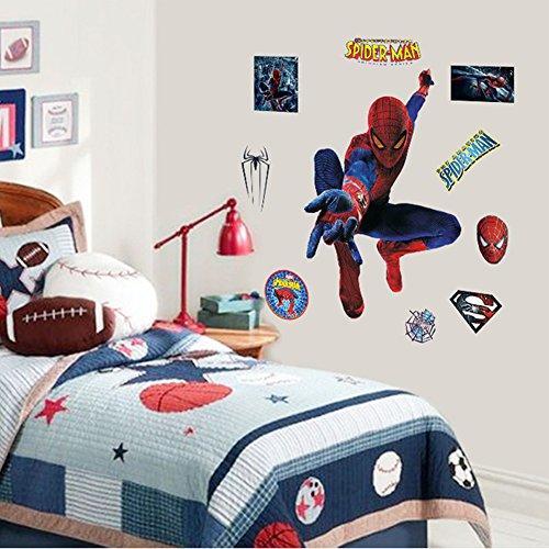 YOURNELO Kid's Cartoon Marvel DC Superhero Peel and Stick Wall Decal Magic Glow in the Dark Stars Vinyl Sticker for Children Bedroom Nursery Playroom Mural (Spiderman)