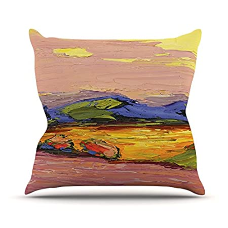 ArtVerse Bhakti Iyata Galloping Horses 18 x 18 Indoor//Outdoor UV Properties-Waterproof and Mildew Proof Pillow 18x18