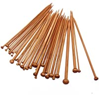 Electomania® 18 Sizes Carbonized Bamboo Knitting Needles Single Pointed Needles (36 pcs 2 pieces for each size)