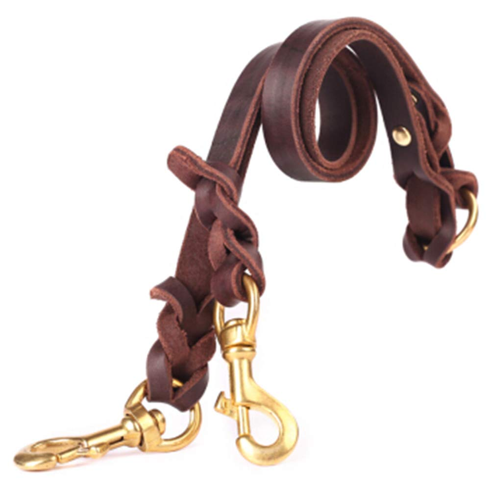 BROWN Large BROWN Large ZCYX Pet Leash One for Two Medium-Sized Dogs Large Dog Pet Double-Headed Leash Dog Chain Leash Dog Stretchable Dogpet Rope (color   Brown, Size   Large)