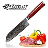 LEGENDARY Santoku Knife 7 inch Japanese Steel Damascus Blade AUS10 67 Layer Professional Chef's Knives G10 Handle Build With Gift Box, Ultra Sharp, Best Kitchen Steel Knife, Sashimi, Gyoto
