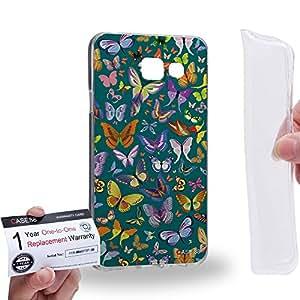Case88 [Samsung Galaxy A3 (2016)] Gel TPU Carcasa/Funda & Tarjeta de garantía - Art Design Viridian Butterfly Art1676