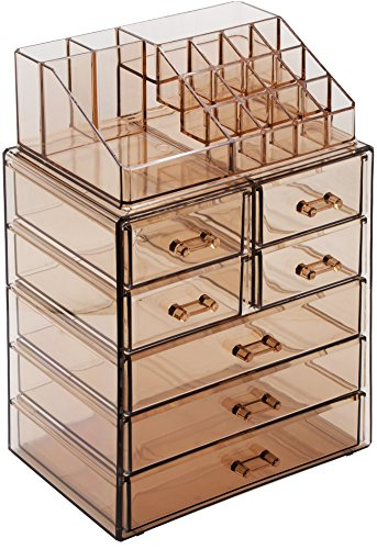 Sorbus Cosmetic Makeup and Jewelry Storage Case Display - Spacious Design - Great for Bathroom, Dresser, Vanity and Countertop (3 Large, 4 Small Drawers, Bronze Glow) (Mess Up Your Lipstick Not Your Mascara)