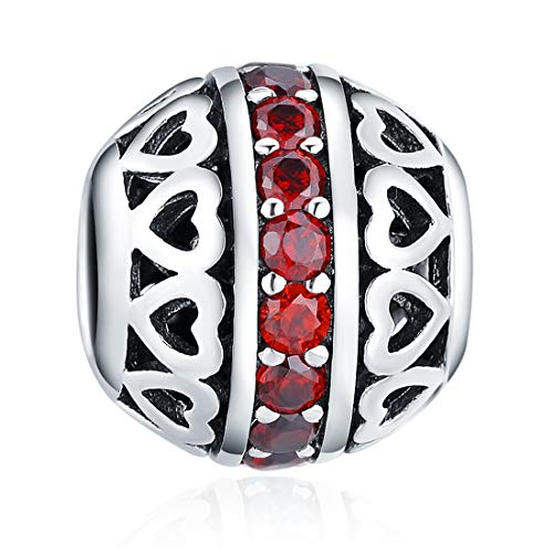 ChicSilver January Birthstone Charm Dark Red Crystal Charm Beads 925 Sterling Silver Charms for Bracelets Girl