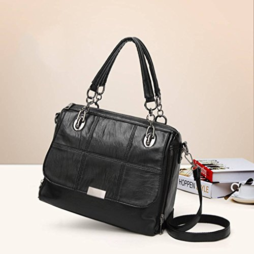Solid PU Zipper Messenger Color Single Crossbody Black Handbags shoulder Bags Bags Girl Women Back w6xwrAWHqn
