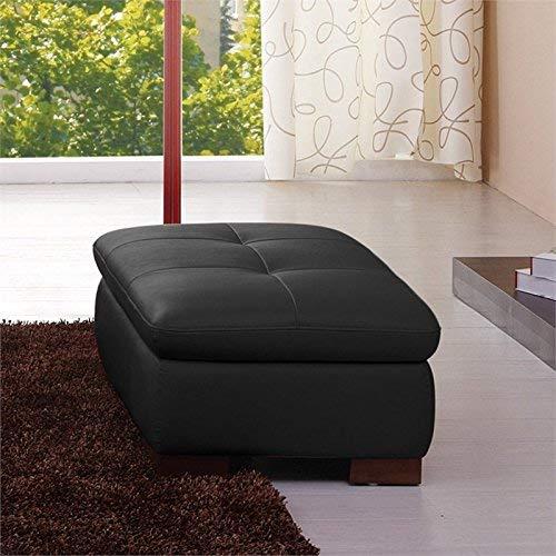 - J and M Furniture 17544311331-OTT 625 Italian Leather Ottoman in Black
