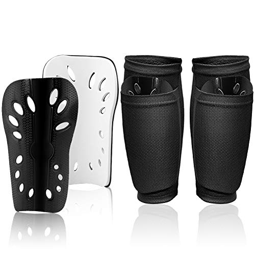 Soccer Shin Guards Youth Kids with Compression Calf Sleeves, Leg Calf Protective Shin Pads Lightweight and Perforated Breathable Guard Board Fit Well for Boys Girls Football Games