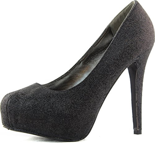 Breckelles Vanesa-4 Black Women Platform Pumps, 7 M US