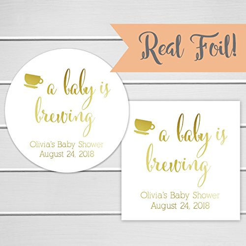 A Baby is Brewing Stickers Foiled Baby Shower Favor Stickers (Baby Brewing Shower Favors)