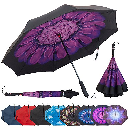 Repel Reverse Folding Inverted Umbrella with 2 Layered Teflon Canopy - Golf Umbrella with Reinforced Fiberglass Ribs (Purple Flower) ()