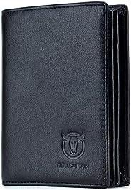 Bullcaptain QB-027 - Cartera plegable de piel auténtica para hombre con 15 ranuras para tarjetas, cartera Rfid