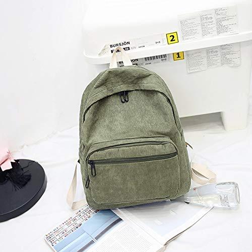 37 Verde 13cm Retro Mochila El Bolsa Corduroy Femenino Estudiante Ejército 29 Hx0UvYq