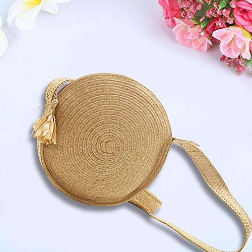 Bag forestwood Wholesale Woven Bag Braided Round Handmade Straw Messenger Camel XBqxw8rCBI