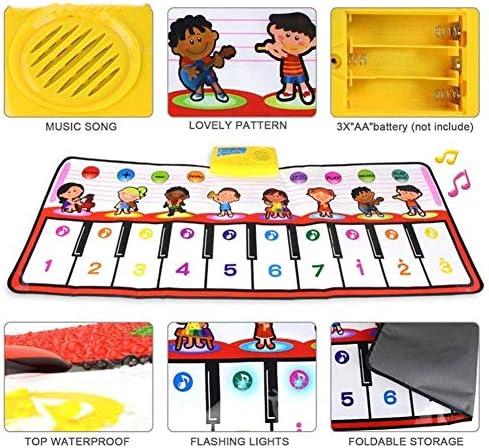 ミュージカルピアノマット、子供用ダンスおもちゃ、ボリュームコントロール付きロールアップフロアキーボード、ミュージカル電子フットステップアンドプレイ用プレイマット、子供の誕生日プレゼント、39.3 X 16インチ