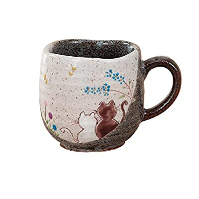 Cat Fan related Products JAPANESE Kutani Pottery Mug CAT HIDAMARI Made in Japan [tag]