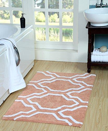 Saffron Fabs Quatrefoil Bath Rug Cotton, 50 Inch x 30 Inch, Coral/White