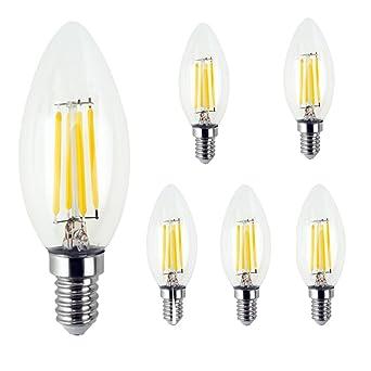 zhma 5 x E14 Bombilla LED filamento tungsteno, 4 W, 3000 K, Edison
