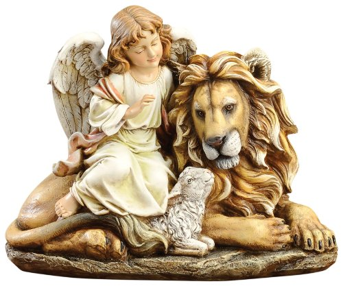 (Joseph's studio by Roman Angel Sitting with Lion and Lamb 11-1/2-Inch)