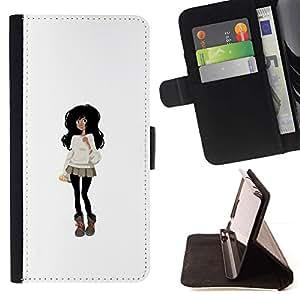 Momo Phone Case / Flip Funda de Cuero Case Cover - Negro Outfit pelo de la manera mini falda de la historieta - Sony Xperia M5