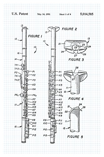 Flute - Graphite on Graph Paper - Instrument Patents Matte Poster Print Wall Art