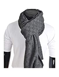 FORBUSITE Men Knit Scarf for Winter Soft, Warm, Oversized Dark Grey E5031