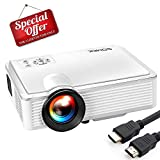 Mini Projector 2400 Lumens - SOMEK LED Portable Projector 1080P HDMI USB VGA AV TF Card Support, HD Video Movie Projector for Laptop iPhone iPad Xbox Game DVD Player Outdoor Home Theater Fire TV Stick