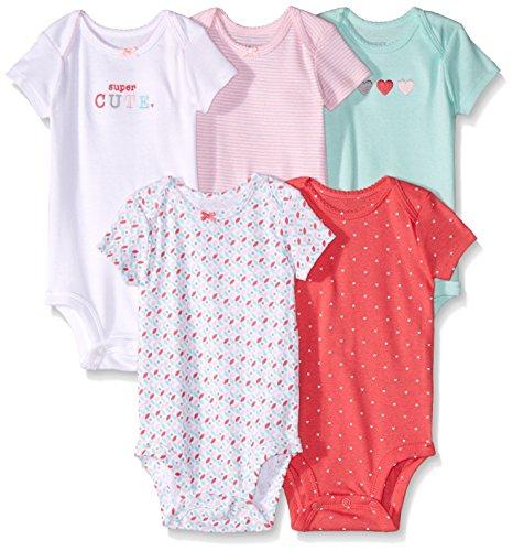 Carter's 126G247 Body para Bebé-Niñas, Multicolor, 0 Recién Nacido, (Paquete de 5 Piezas)