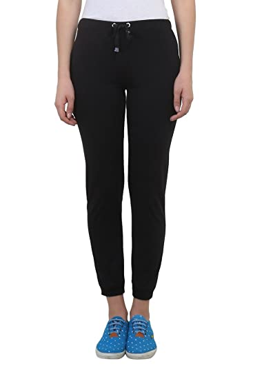 Vimal Black Cotton Blend Trackpant For Women Trousers at amazon