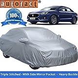 Autofact Premium Silver Matty Triple Stitched Car Body Cover with Mirror Pocket for Maruti Swift Dzire 2017