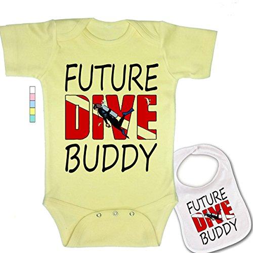 (babybytes Future Dive Buddy -Cute Diving & Scuba Theme Baby Bodysuit Onesie & Bib)