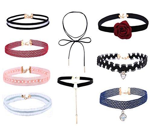 globalsupplier-girl-gothic-velvet-classic-women-choker-necklace-9-pcs-set