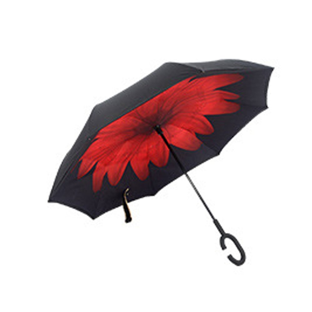 KOOK inverted / inverted double waterproof umbrella, self-standing c - handle and lifting bag, inside and outside folding ( black, red daisy )