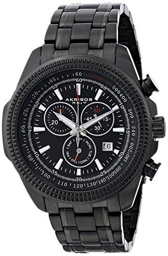 Akribos XXIV Men's AK617BK Conqueror Swiss Chronograph Black Stainless Steel Bracelet Watch