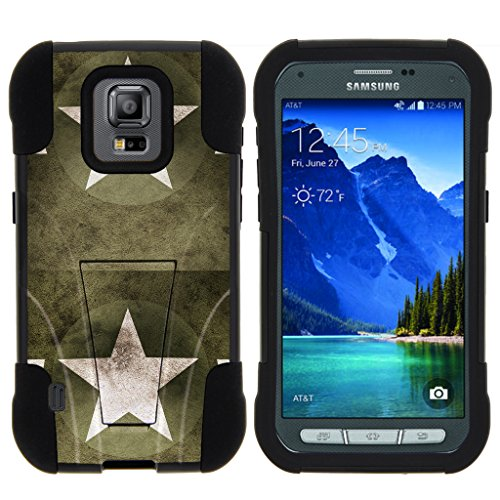 TurtleArmor | Samsung Galaxy S5 Active Case | G870 [Gel Max] Impact Proof Cover Hard Kickstand Hybrid Fitted Shock Silicone Shell Military War Camo Design - Military Stars