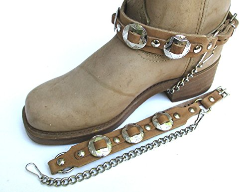 - Western Biker Boot Chains Light Brown Leather with Triple Nickel Conchos