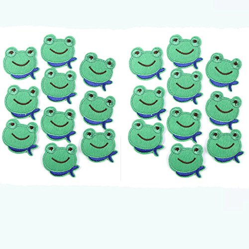 (EORTA 20 Pcs Small Cloth Sticker Applique Embroidery Patches DIY Clothing Decorated Sewing for Craft Repair Patch for Kids Cute Frog Pattern Decor )