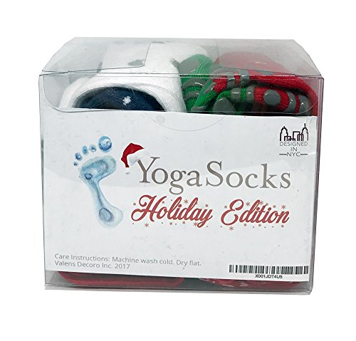 Holiday Grip Non Slip Socks Pack of 4 by YogiSocks Skid Yoga Pilates Barre Bikram Hospital for Women