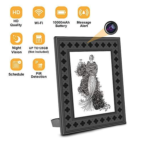 Feipule WiFi Photo Frame Wireless Nanny Camera with Night Vision,Motion Detection,Remote Live View,365 Days Standby Time, Indoor Covert Security Camera for Home and Office